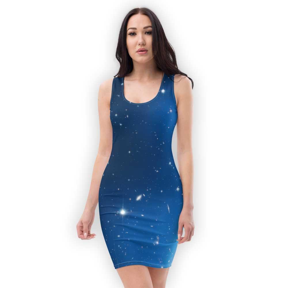 Blue galaxy print dress