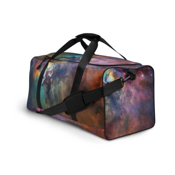 Rainbow galaxy print sports bag