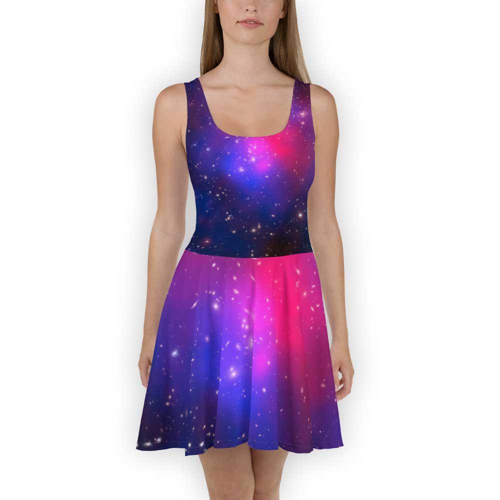 Purple galaxy print dress