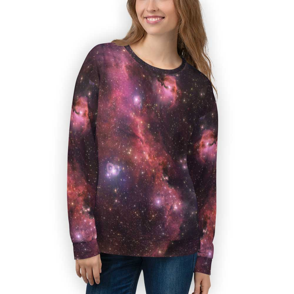 Dark Red Galaxy Sweatshirt for Adults