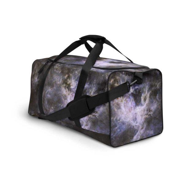 Purple and white galaxy print sports bag