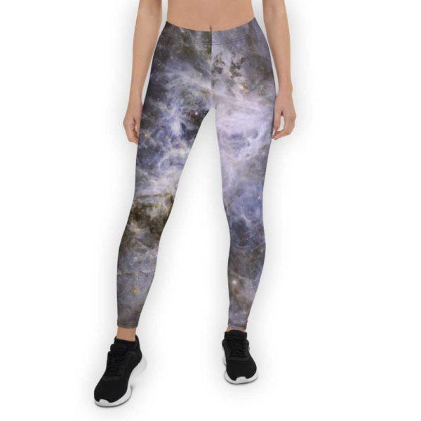 Purple and white galaxy print leggings